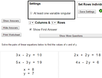 Worksheet Simultaneous Equations Worksheet solving simultaneous equations extract from top setting section of worksheet generator
