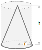 cone shown inside a cylinder with height and base radius marked