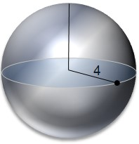sphere with internal radius of 4