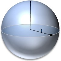 sphere with radius shown