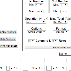 printable math worksheet generators screenshot of extract from the addition and subtraction generator